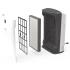 BONECO P340 - detail uložení filtrační kazety. Kryt je připevněn magnetickými úchytkami, pod krytem je předfiltr a filtrační kazeta (pro výměnu použijte novou filtrační kazetu označenou BONECO A341). Na boční straně přístroje je zřejmý snímač prachových částic.