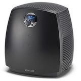 Diskový zvlhčovač vzduchu BONECO 2055D - celkový pohled z perspektivy prozrazuje moderní zaoblené tvary a jednoduché ovládání s přehledným displejem, pod pláštěm se skrývá zvlhčovací výkon až 300 ml/hod, jednoduché ovládání a údržba a mimořádně levný provoz