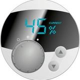 2055D - detailní pohled na ovladač a displej prozrazuje snadné a intuitivní ovládání, na displeji je zobrazena aktuální vlhkost v prostoru, otočný přepínač slouží jako hlavní vypínač a zároveň přepínač dvou výkonových stupňů, tlačítky se symboly šipek se nastavuje požadovaná vlhkost