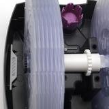 2055D - pohled zvrchu po sejmutí horního dílu, v základové vaně je umístěna soustava disků, fialový zásobník na aromatickou látku a v levé části ionizační stříbrná tyčinka, která zajišťuje hygienickou a mikrobiologickou nezávadnost vody v přístroji