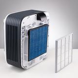 BONECO H680 - Po sejmutí předního krytu jsou dobře přístupné filtry. Předfiltr (bílá kazeta) a hlavní filtr (modrá kazeta) jsou dobře dostupné a snadno vyměnitelné.
