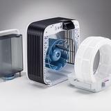 BONECO H680 - Zvlhčovací systém přístroje. Zvlhčovací rohož je přístupná po sejmutí čelního panelu a čistících filtrů. Je možné ji vyndat a umýt pod tekoucí vodou.