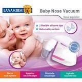 LA131103 Baby Nose Vacuum - obrázek z čelní strany obalu přístroje ukazuje zásadní měny oproti původnímu provedení, především 2 velikosti silikonových sacích nástavců a nový, ergonomický tvar.