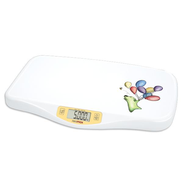 Rossmax WE300 – Kojenecká a dětská váha pro děti do hmotnosti 20 kg. Funkce TARE (nulování), funkce HOLD (stabilizace pro zvážení neklidných dětí). Ergonomický tvar usnadňuje vážení.