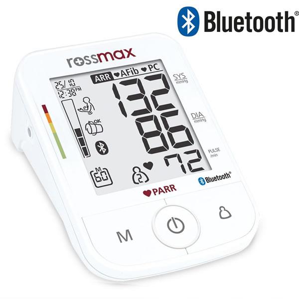 Rossmax X5 s technologií Bluetooth – Jediný tlakoměr na trhu, který detekuje všechna hlavní rizika vzniku mrtvice. Je vybaven technologií Bluetooth, takže nebudete potřebovat žádné jiné kabely.
